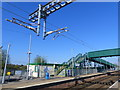 ST4687 : New electrification wires at Severn Tunnel Junction railway station by Ruth Sharville
