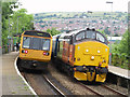 ST1486 : Class 37 and 142 Pacer at Aber station by Gareth James