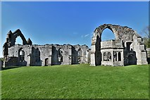 SJ5415 : Haughmond Abbey: Remains of the Abbot's house and refectory by Michael Garlick