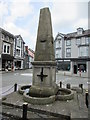 SN5748 : Contrasting messages on Harford Fountain, Harford Square, Lampeter by Jaggery