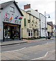 SN5748 : Four flags, High Street, Lampeter by Jaggery