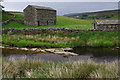 SD7993 : River Ure and field barns by Ian Taylor