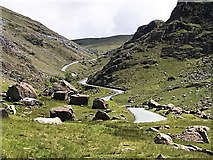 NY2114 : Winding road through The Honister Pass by Richard Humphrey