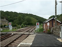 NZ7805 : Stop signs, east end of Glaisdale Station by Christine Johnstone