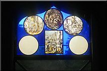 TQ1572 : View of a stained glass window in Strawberry Hill House #2 by Robert Lamb