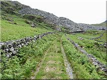 SH5645 : Route of the Gorseddau tramway approaching Gorseddau quarry by Gareth James
