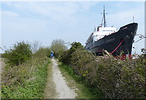 SJ1779 : TSS Duke of Lancaster and the Wales Coast Path by Mat Fascione