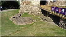 TL9925 : View of the remains of the keep of Colchester Castle by Robert Lamb