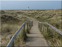 SJ1285 : Boardwalk and path to the Point of Ayr Lighthouse by Mat Fascione