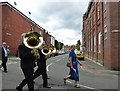 SJ9593 : Denton Brass crossing Enfield Street by Gerald England