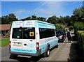 SO1122 : St Margaret's Bushey minibus in Talybont-on-Usk by Jaggery