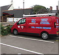 ST3490 : Red van in High Street car park, Caerleon by Jaggery