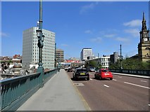 NZ2563 : Looking north to Newcastle city centre from the end of the Tyne Bridge by Robert Graham