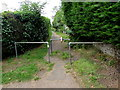 SO5219 : Metal barriers across a path, Llangrove, Herefordshire by Jaggery
