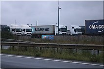 TM2141 : The Orwell Crossing lorry park, Nacton Heath by David Howard