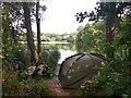TQ0586 : Fishing Shelter next to Lake by James Emmans