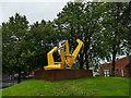 SE2635 : Yellow metal sculpture at Kirkstall by Stephen Craven