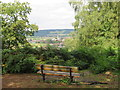 TQ1548 : Bench with a view over Dorking by Malc McDonald