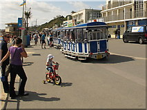 SZ1191 : Land train and child cyclist by Boscombe Pier by David Hawgood