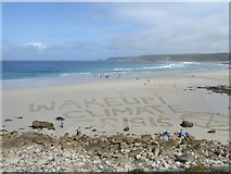 SW3526 : Message on the beach at Sennen Cove by Rod Allday