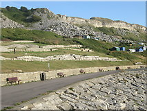 SY6873 : Terrace path above Chesil Cove by Peter S