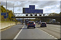 TQ5781 : Clockwise M25, Sign Gantry at Junction 30 by David Dixon