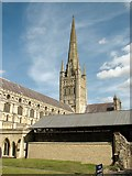 TG2308 : Norwich Cathedral from the Upper Close by Evelyn Simak