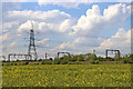 SK1409 : Farmland, pylon and railway near Huddlesford, Staffordshire by Roger  Kidd