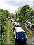 SK1409 : Narrowboat moorings near Huddlesford in Staffordshire by Roger  Kidd