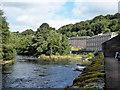 NS8842 : New Lanark Mills - River Clyde and buildings by Rob Farrow