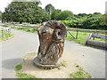 SE3632 : Temple Newsam farm - wooden sculpture by Stephen Craven