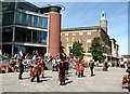 TG2208 : Morris dancers at the Norwich Forum by Evelyn Simak
