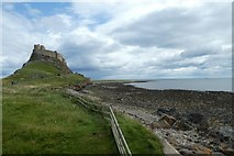 NU1341 : Lindisfarne Castle and coastline by DS Pugh