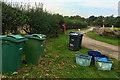 SE4983 : Wheelie bins on Carr Lane (and a goat) by Mick Garratt