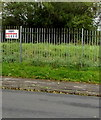 SS9768 : KEEP OUT notice on railings, Eagleswell Road, Llantwit Major by Jaggery