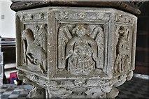 TM1582 : Shimpling, St. George's Church: The font 1 by Michael Garlick
