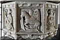 TM1582 : Shimpling, St. George's Church: The font 5 by Michael Garlick