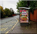 ST3089 : Indian Chicken in a Garlic Naan advert on a Crindau bus shelter, Newport by Jaggery