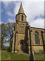 SD9055 : St Peter's Coniston Cold - spire and clock dial by Stephen Craven
