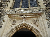 TQ3581 : Carvings over the entrance to St Dunstan's Church, Stepney by Marathon