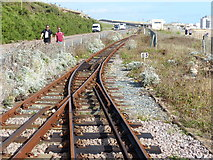 TQ3203 : Points at a passing place, Volks Electric Railway, Brighton by Ruth Sharville