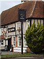 TL9231 : The Crown Public House sign by Adrian Cable