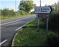 SJ2963 : Buckley railway station direction sign by Jaggery