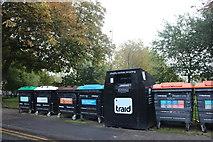 TQ3484 : Recycling bins by London Fields, Dalston by David Howard
