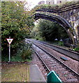 SH7877 : Check AWS sign facing Conwy station by Jaggery
