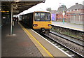ST1586 : Class 143 Penarth train in Caerphilly station by Jaggery
