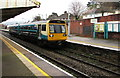 ST1586 : Rhymney train arriving at Caerphilly station platform 3 by Jaggery