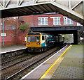 ST1586 : Rhymney train leaving Caerphilly station platform 3 by Jaggery