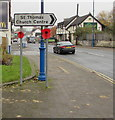 ST1888 : Two poppies below a direction sign, Newport Road, Trethomas by Jaggery