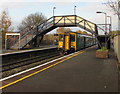 SO4383 : Swansea train under the footbridge at Craven Arms station by Jaggery